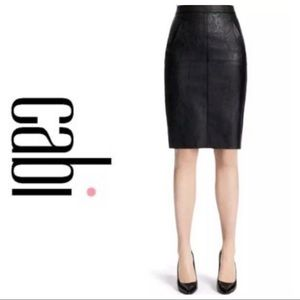 Cabi Fleather black leather pencil skirt, 6